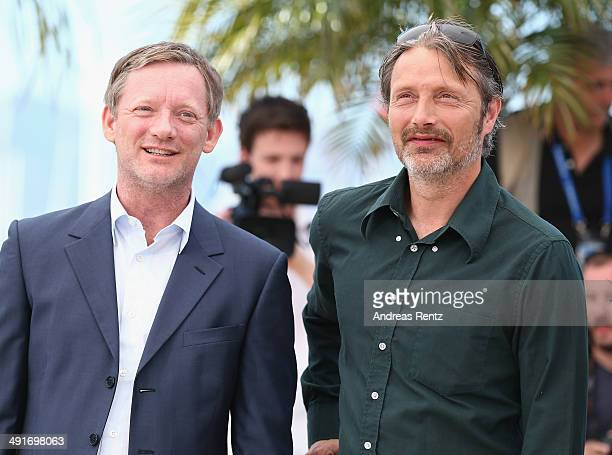 Actors Douglas Henshall and Mads Mikkelsen attend The Salvation photocall during the 67th Annual Cannes Film Festival on May 17 2014 in Cannes France