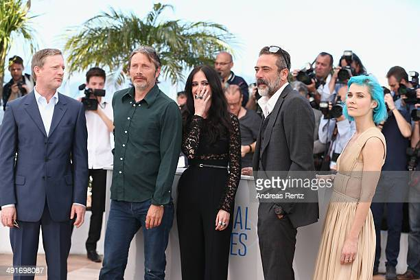 Actors Douglas Henshall Mads Mikkelsen Eva Green Jeffrey Dean Morgan and Nanna Oland Fabricius attend the The Salvation photocall at the 67th Annual...