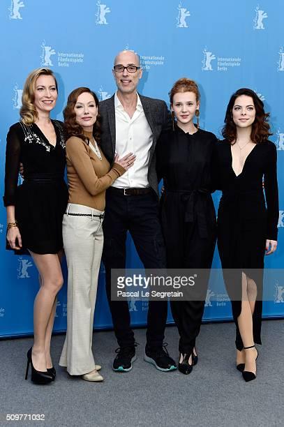 Actors Dounia Sichov SimoneElise Girard James Hyndman Isolda Dychauk and Laetitia IsambertDenis attend the 'Boris without Beatrice' photo call during...