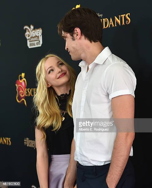 Actors Dove Cameron and Ryan McCartan attend the premiere of Disney Channel's 'Descendants' at Walt Disney Studios on July 24 2015 in Burbank...