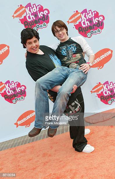 Actors Drake Bell and Josh Peck of the Drake and Josh show pose at Nickelodeon's 17th Annual Kids' Choice Awards at Pauley Pavilion on the campus of...