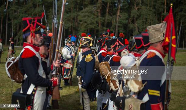Actors, dressed as 19th century soldiers, reenact the Battle of the Gohrde, near Lueben, Germany, 17 September 2017. The Battle of the Gohrde was...