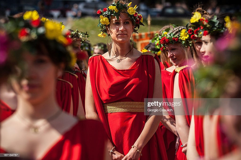 Actors dressed as ancient Roman maids get ready to march in a commemorative parade during festivities marking the 2,766th anniversary of the founding of Rome on April 21, 2013 in Rome, Italy. The capital celebrates its founding annually based on the legendary foundation of the Birth of Rome. Actors dressed as the denizens of ancient Rome participate in parades and re-enactments of the ancient Roman Empire. According to legend, Rome had been founded by Romulus in 753 BC in an area surrounded by seven hills.