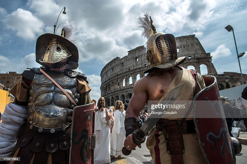 Actors dressed as ancient Roman soldiers stand near the Coliseum as they attend a parade to commemorate the 2,768th anniversary of the founding of Rome on April 19, 2015 in Rome, Italy. The birth of Rome is celebrated in the capital annually, with actors dressed as denizens of ancient Rome taking part in parades and re-enactments of the ancient Roman Empire. According to legend, Rome was founded by Romulus in 753 BC in an area surrounded by seven hills.