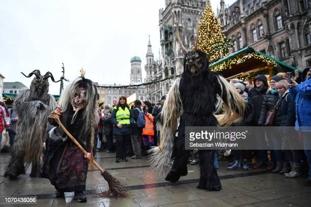 Actors dressed as the Krampus creature parade through the city center's pedestrian shopping district on December 9 2018 in Munich Germany Krampus...