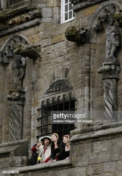 Actors dressed in 16th century costume in Stirling Castle's Queen Anne gardens admire the view from the Royal Lodgings at the launch a 12 million...