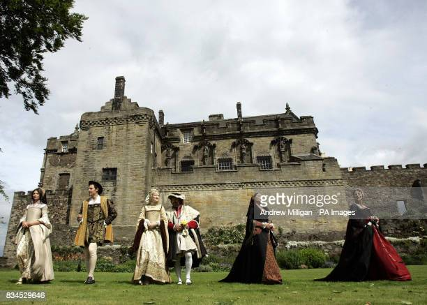 Actors dressed in 16th century costume in Stirling Castle's Queen Anne gardens launch a 12 million project to revamp the historic castle's Royal...