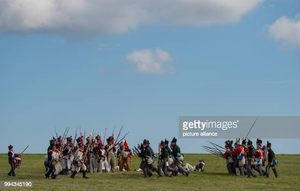 Actors dressed like soldiers 'fight' on the battlefield near Lueben Germany 17 September 2017 The Battle of the Goehrde against Napoleon's troops...