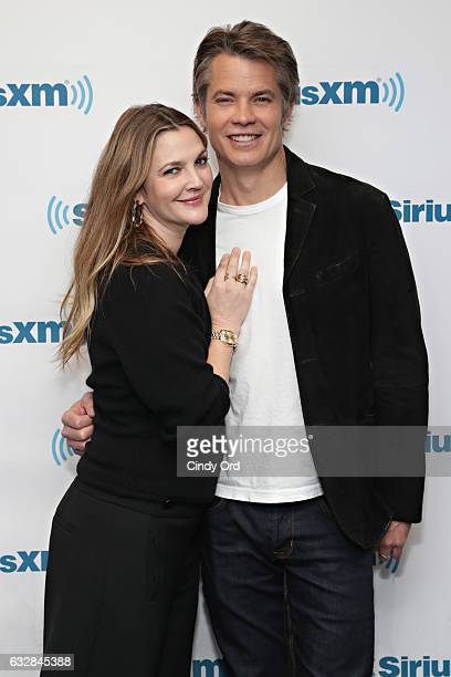 Actors Drew Barrymore and Timothy Olyphant visit the SiriusXM studio on January 27 2017 in New York City