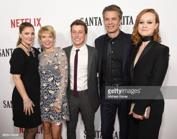 Actors Drew Barrymore Mary Elizabeth Ellis Skyler Gisondo Timothy Olyphant and Liv Hewson attend the Santa Clarita Diet Premiere on February 1 2017...