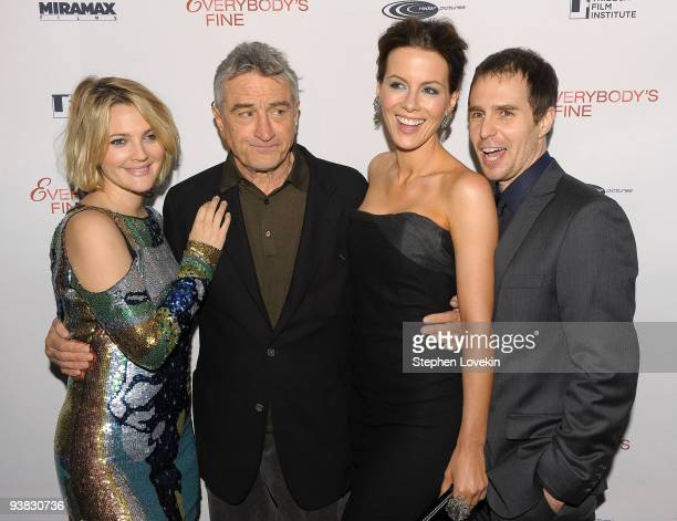 Actors Drew Barrymore Robert De Niro Kate Beckensale and Sam Rockwell attend the Tribeca Film Institute's benefit screening of Everybody's Fine at...