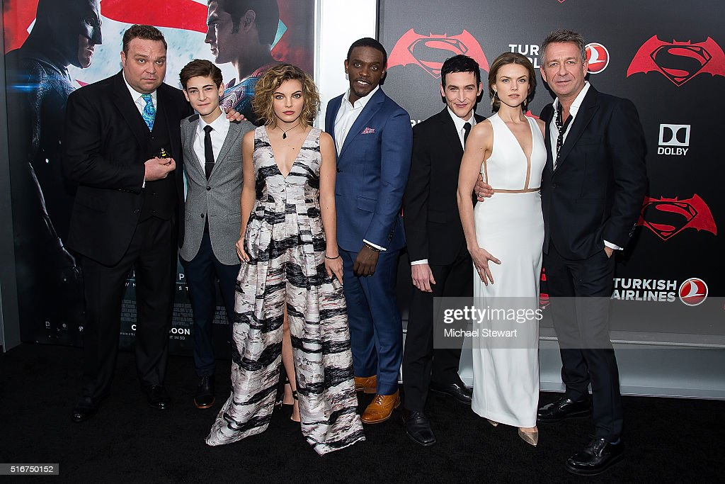 Actors Drew Powell, David Mazouz, Camren Bicondova, Chris Chalk, Robin Lord Taylor, Erin Richards and Sean Pertwee attend the 'Batman V Superman: Dawn Of Justice' New York premiere at Radio City Music Hall on March 20, 2016 in New York City.
