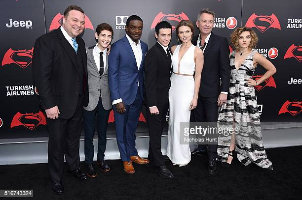 Actors Drew Powell David Mazouz Chris Chalk Robin Lord Taylor Erin Richards Sean Pertwee and Camren Bicondova of 'Gotham' attend the 'Batman V...