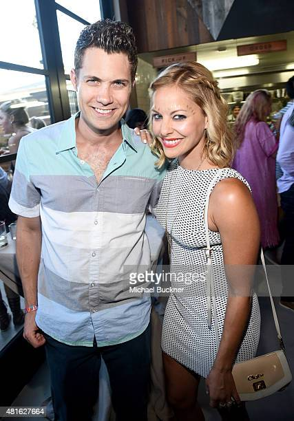 Actors Drew Seeley and Amy Paffrath attend the Wanderlust Hollywood Grand Opening on July 22 2015 in Los Angeles California