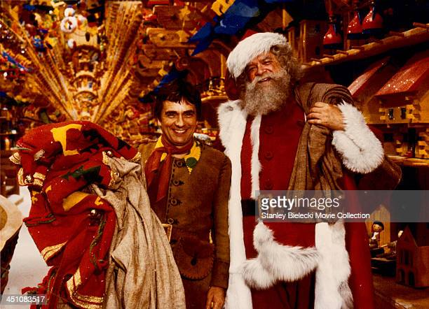 Actors Dudley Moore and David Huddleston on the set of the film 'Santa Claus' 1985