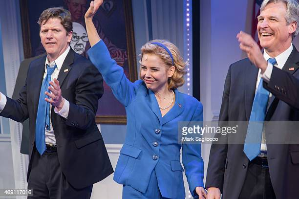 Actors Duke Lafoon Kerry Butler and Tom Galantich attend the Clinton the Musical Opening Night Curtain Call at New World Stages on April 9 2015 in...
