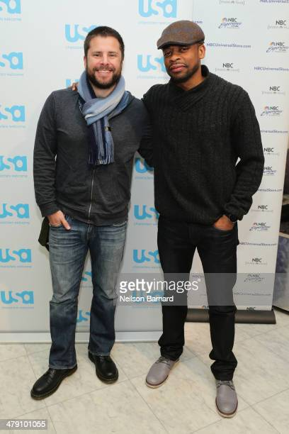 Actors Dule Hill and James Roday attend the USA's Psych meet and greet at the NBC Experience Store on March 16 2014 in New York City