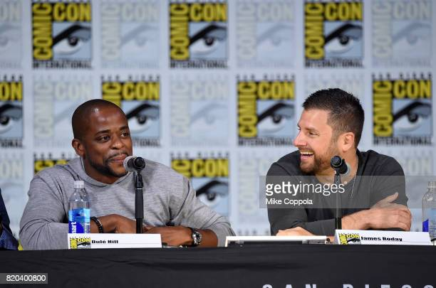 Actors Dule Hill and James Roday speak onstage at the 'Psych' reunion and movie sneak peek during ComicCon International 2017 at San Diego Convention...