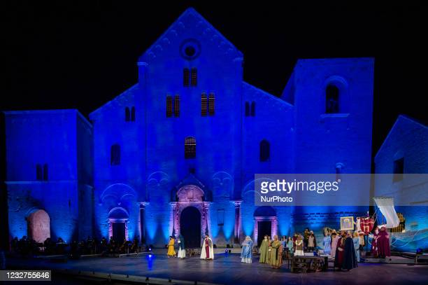 Actors during the show on the occasion of the Feast of San Nicola in front of the Basilica of San Nicola in Bari on May 7, 2021. The Basilica of San...