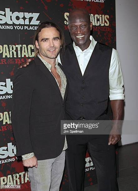 Actors Dustin Clare and Peter Mensah attend the 'Spartacus War Of The Damned' Series Finale Premiere at the Museum of Modern Art on January 24 2013...