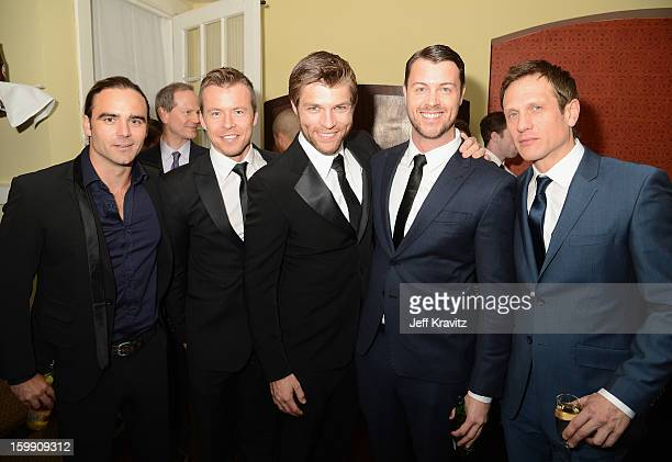 Actors Dustin Clare Todd Lasance Liam McIntyr Dan Feuerriegel and Simon Merrells attend the Spartacus War Of The Damned premiere after party on...