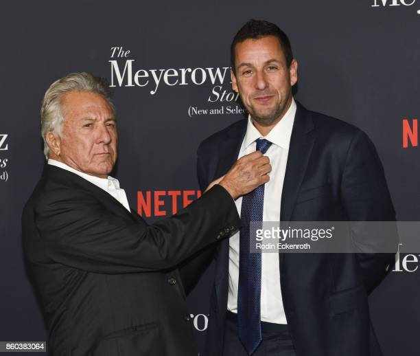 Actors Dustin Hoffman and Adam Sandler attend screening of Netflix's 'The Meyerowitz Stories ' at Directors Guild Of America on October 11 2017 in...