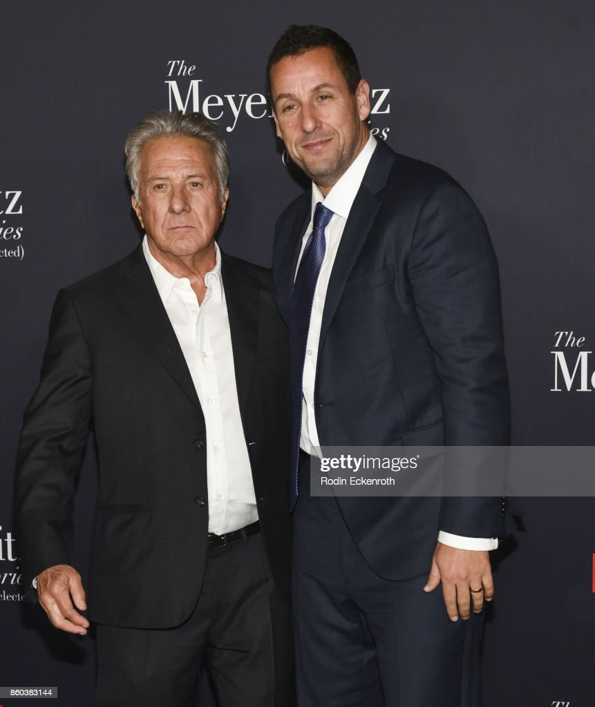 Actors Dustin Hoffman (L) and Adam Sandler attend screening of Netflix's 'The Meyerowitz Stories (New And Selected)' at Directors Guild Of America on October 11, 2017 in Los Angeles, California.