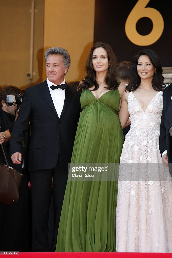 Actors Dustin Hoffman, Angelina Jolie and Lucy Liu arrive at the Kung Fu Panda Premiere at the Palais des Festivals during the 61st International Cannes Film Festival May 15 , 2008 in Cannes, France.