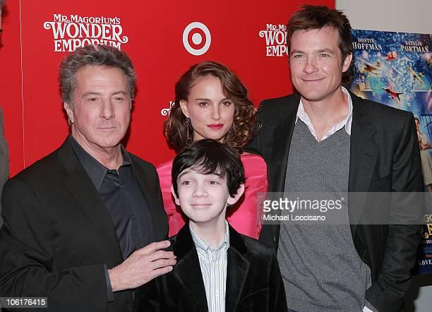 Actors Dustin Hoffman Zach Mills Natalie Portman and Jason Bateman attend 'Mr Magorium's Wonder Emporium' premiere at the DGA Theater on November 11...