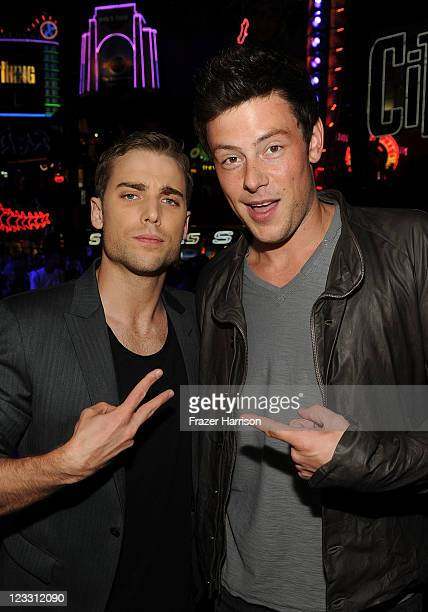 Actors Dustin Milligan and Cory Monteith arrive at 'Shark Night' screening at Universal CityWalk on September 1 2011 in Universal City California