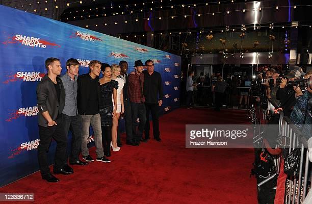 Actors Dustin Milligan Chris Carmack Chris Zylka Alyssa Diaz Sara Paxton Sinqua Walls Joel David Moore and producer Mike Fleiss arrive at Shark Night...