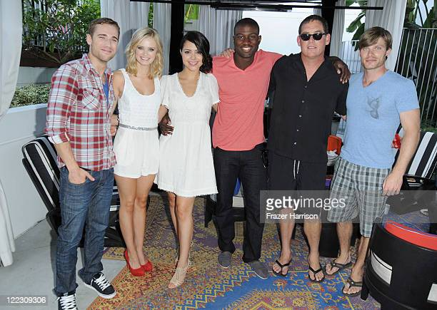 Actors Dustin Milligan Sara Paxton Alyssa Diaz Sinqua Walls Producer Mike Fleiss and actor Chris Carmack attend the Swimming With Sharks Pool Party...