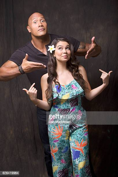 Actors Dwayne Johnson and Aulii Cravalho are photographed for USA Today on November 13 2016 in Santa Monica California