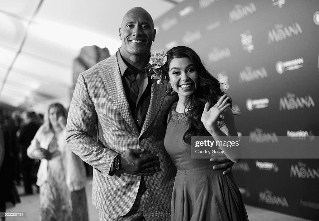 Actors Dwayne Johnson (L) and Auli'i Cravalho attend The World Premiere of Disney's 'MOANA' at the El Capitan Theatre on Monday, November 14, 2016 in Hollywood, CA.