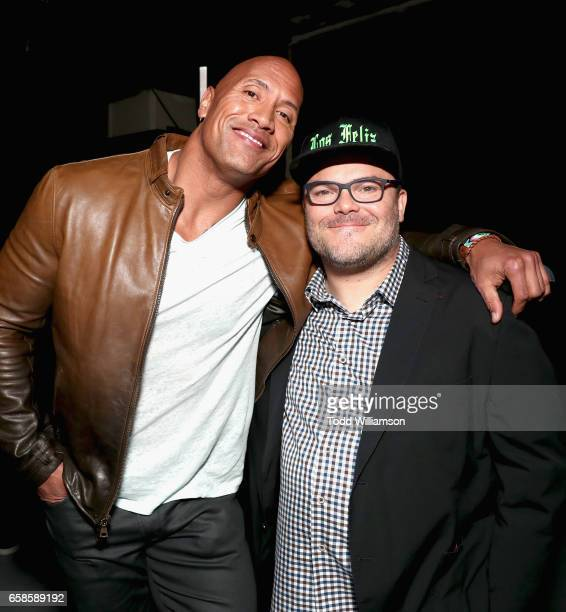 Actors Dwayne Johnson and Jack Black during a photo call for Columbia Pictures' JUMANJI WELCOME TO THE JUNGLE at Caesars Palace during CinemaCon 2017...