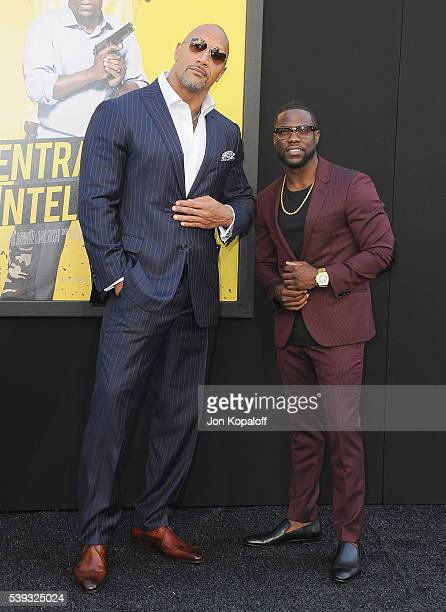 """Actors Dwayne Johnson and Kevin Hart arrive at the Los Angeles Premiere """"Central Intelligence"""" at Westwood Village Theatre on June 10, 2016 in..."""