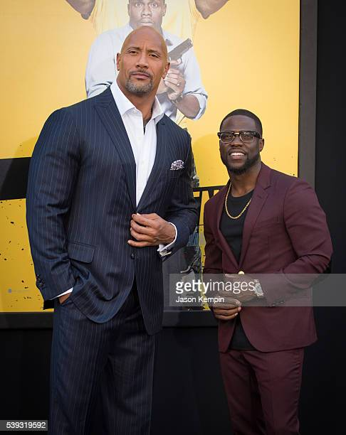Actors Dwayne Johnson and Kevin Hart attend the premiere of Warner Bros Pictures' 'Central Intelligence' at Westwood Village Theatre on June 10 2016...