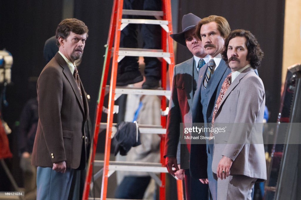 Actors Dylan Baker, David Koechner, Will Ferrell and Paul Rudd filming on location for 'Anchorman: The Legend Continues' on May 20, 2013 in New York City.