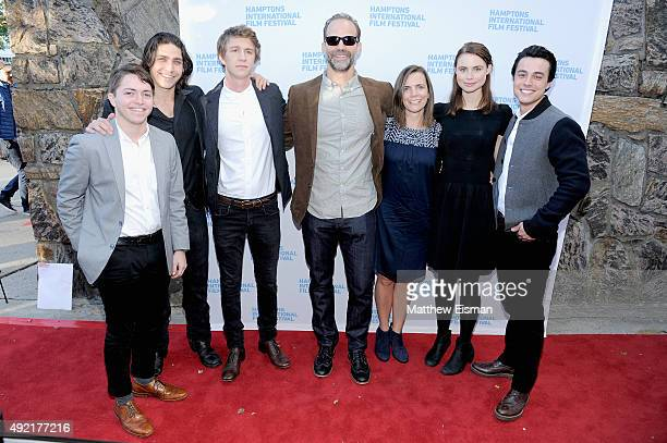 Actors Dylan Blue Logan Huffman Thomas Mann Director Joseph Castelo guest Lucy Fry and Robert Gorrie attend 'The Preppie Connection' photo call on...
