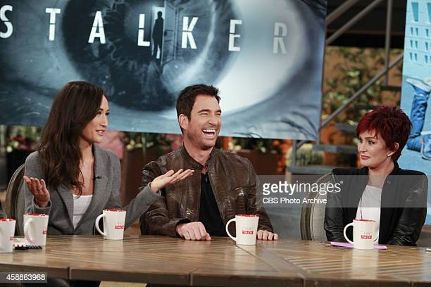 Actors Dylan McDermott and Maggie Q visit the ladies of The Talk Tuesday November 11 2014 on the CBS Television Network From left Maggie Q Dylan...
