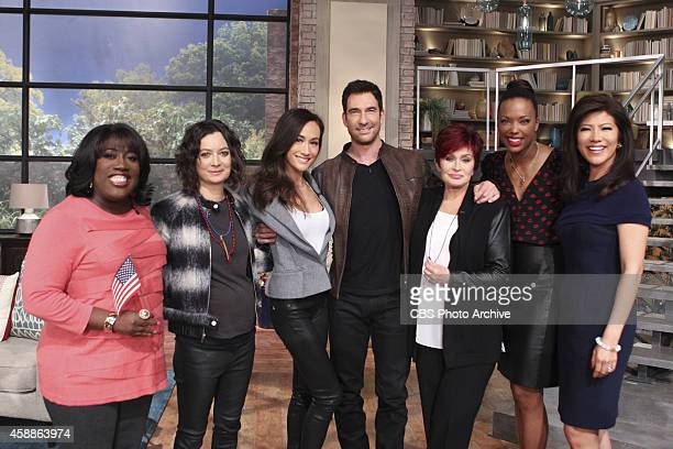 Actors Dylan McDermott and Maggie Q visit the ladies of The Talk Tuesday November 11 2014 on the CBS Television NetworkFrom left Sheryl Underwood...