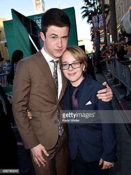 Actors Dylan Minnette and Ed Oxenbould attend the premiere of Disney's 'Alexander and the Terrible Horrible No Good Very Bad Day' at the El Capitan...