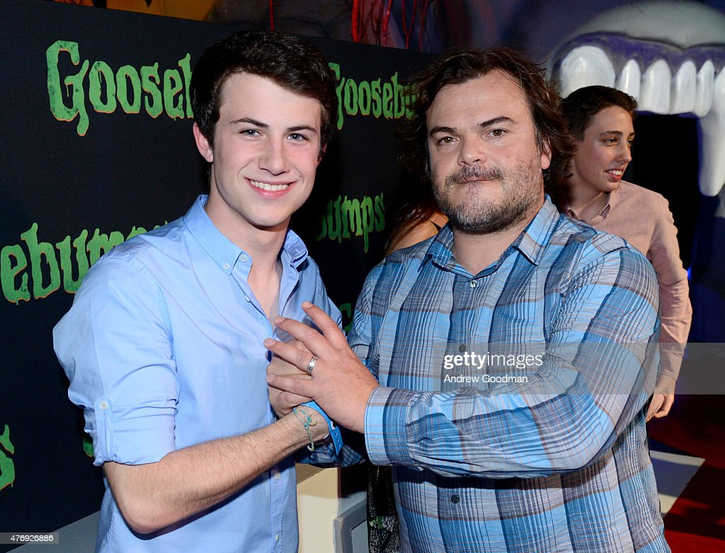 Actors Dylan Minnette (L) and Jack Black attend 'Goosebumps' photo call during Summer Of Sony Pictures Entertainment 2015 at The Ritz-Carlton Cancun on June 12, 2015 in Cancun, Mexico. #SummerOfSonyPictures #GoosebumpsMovie