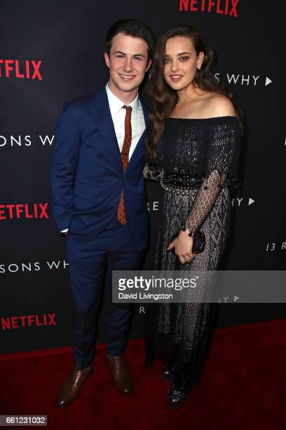 Actors Dylan Minnette and Katherine Langford attend the premiere of Netflix's '13 Reasons Why' at Paramount Pictures on March 30 2017 in Los Angeles...