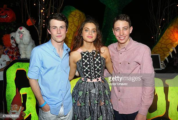 Actors Dylan Minnette Odeya Rush and Ryan Lee attend 'Goosebumps' party during Summer Of Sony Pictures Entertainment 2015 at The RitzCarlton Cancun...