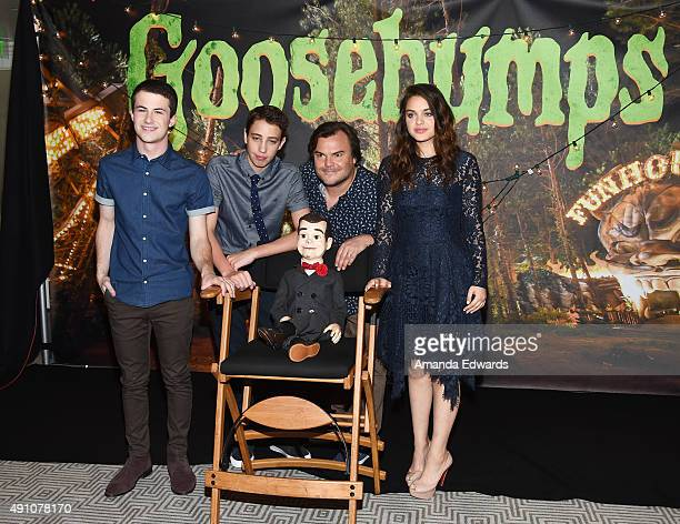 Actors Dylan Minnette Ryan Lee Slappy Jack Black and Odeya Rush attend the photo call for Sony Pictures Entertainment's Goosebumps at The London West...