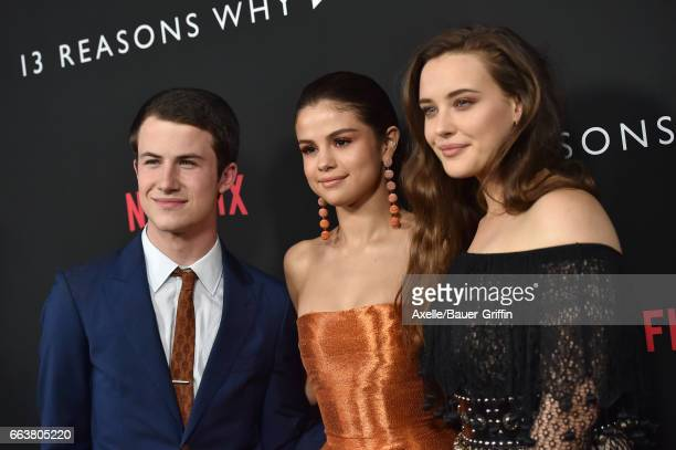 Actors Dylan Minnette Selena Gomez and Katherine Langford arrive at the Premiere of Netflix's '13 Reasons Why' at Paramount Pictures on March 30 2017...