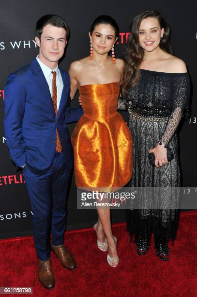 Actors Dylan Minnette Selena Gomez and Katherine Langford attend the Premiere of Netflix's '13 Reasons Why' at Paramount Pictures on March 30 2017 in...