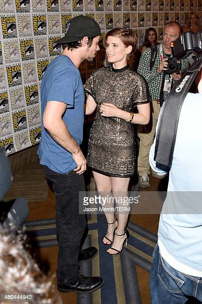 Actors Dylan O'Brien and Kate Mara attend the 20th Century Fox press room during ComicCon International 2015 at the Hilton Bayfront on July 11 2015...