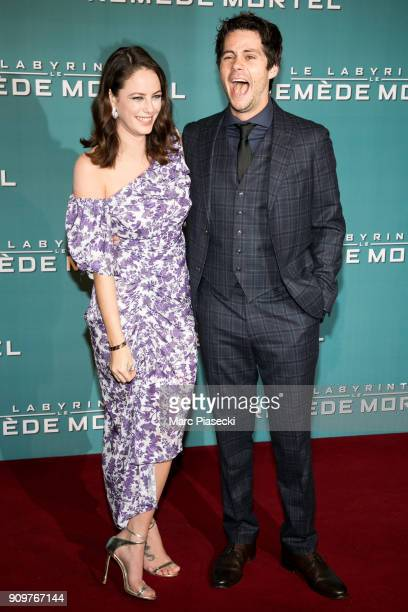 Actors Dylan O'Brien and Kaya Scodelario attend the 'Maze Runner The Death Cure' Premiere at Le Grand Rex on January 24 2018 in Paris France